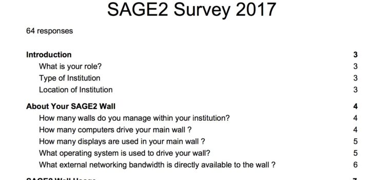SAGE2 Survey 2017 Results